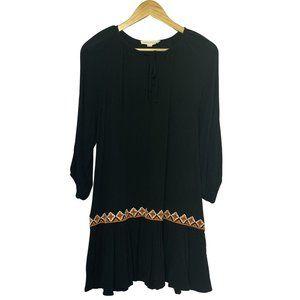 M Lovestitch Black Embroidered Boho Mini Dress